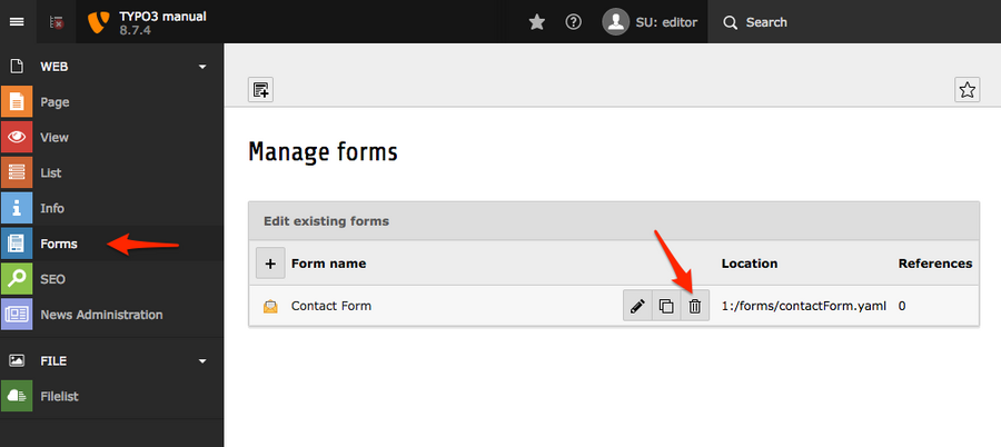 Deleting forms in TYPO3 version 8