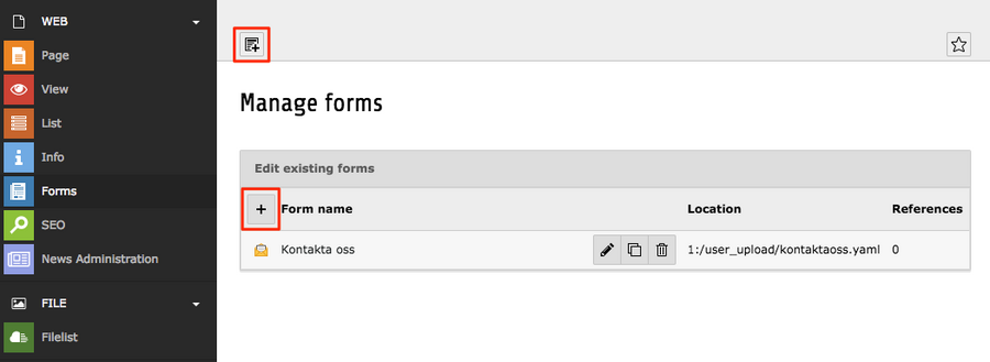 where to find created forms