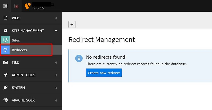 Redirect Management location in TYPO3 version 9