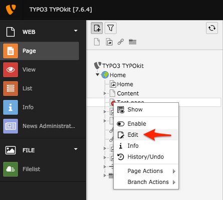 Page properties in TYPO3