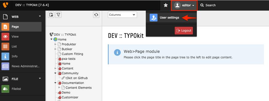 Edit your user settings in TYPO3 | TYPO3manual com
