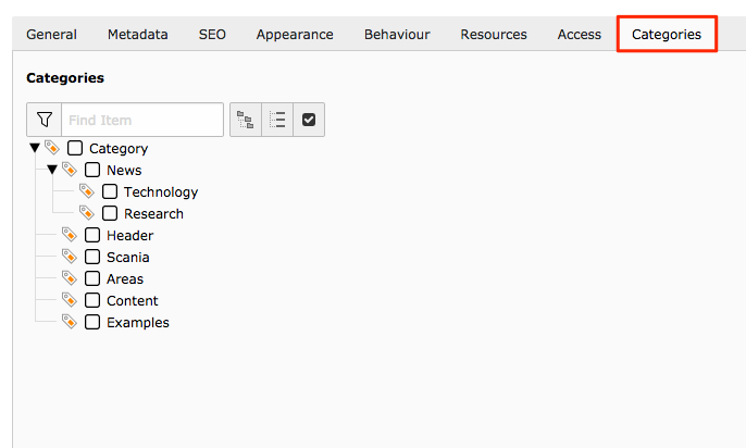 Page settings categories tab