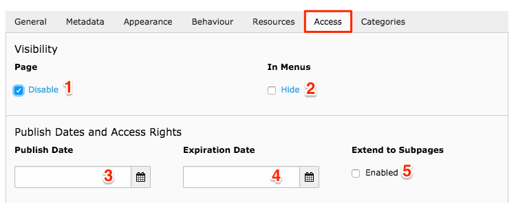 Access tab for page settings in TYPO3