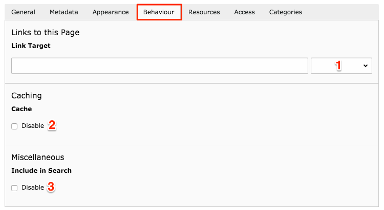 Behavior tab for page settings in TYPO3