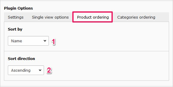 Grouped list view product ordering