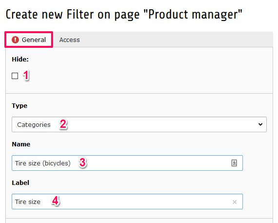 Product filter settings