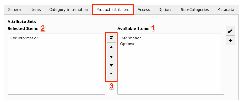Product attributes tab